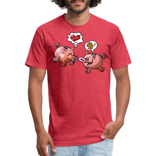 Money or Love? - Fitted Cotton/Poly T-Shirt by Next Level