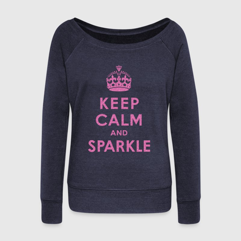 Keep Calm and Sparkle Long Sleeve Shirts - Women's Wideneck Sweatshirt