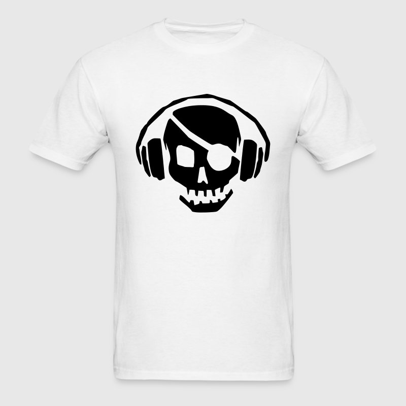 A dead skull/skeleton wearing headphones listening to the pulse and beats T-Shirts - Men's T-Shirt