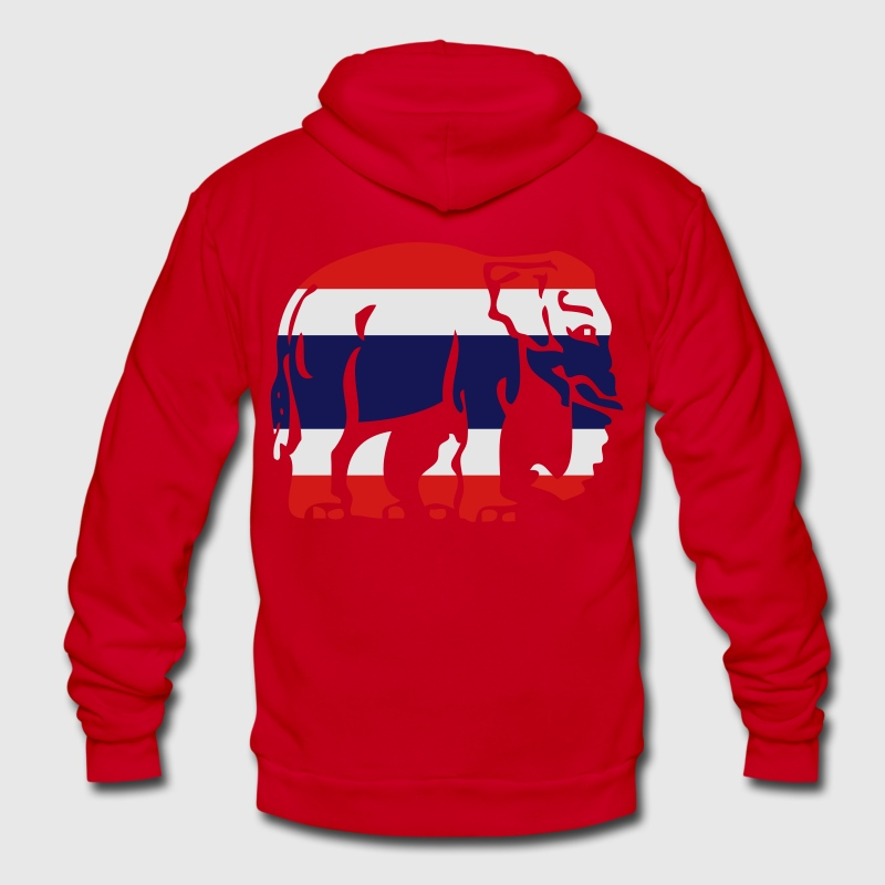 Thai Flag Caution Elephant Crossing Sign - Unisex Fleece Zip Hoodie by American Apparel