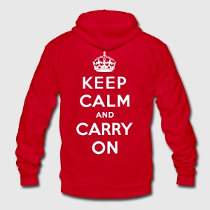 Keep Calm and Carry On T-Shirt - Unisex Fleece Zip Hoodie by American Apparel