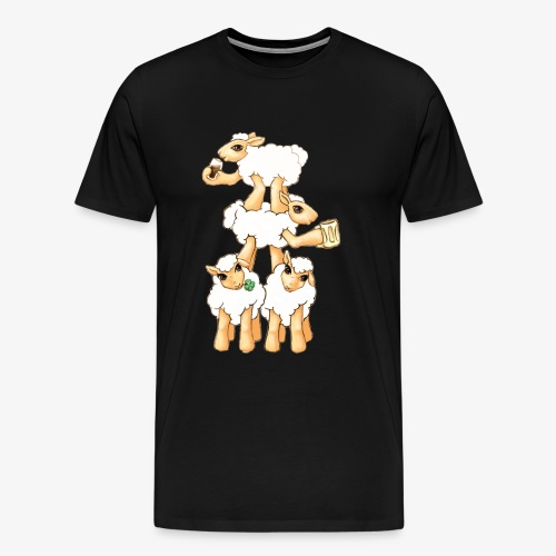 Sheeps celebrating Patrick's Day - Men's Premium T-Shirt