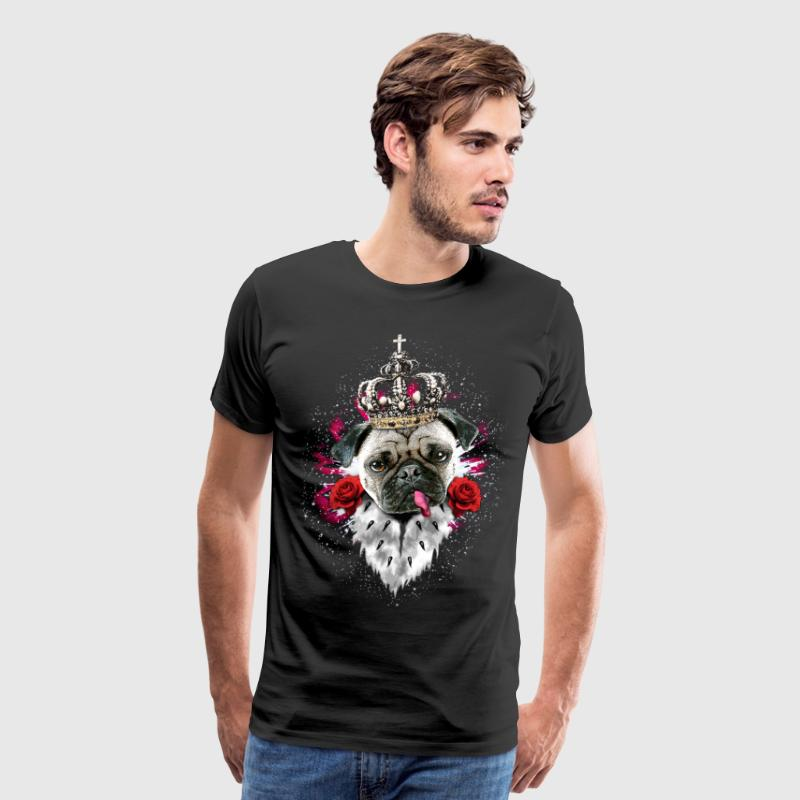 Pug Mops King Queen Heart Roses tongue Dog T-Shirt - Men's Premium T-Shirt