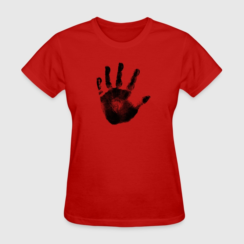 Black Handprint Graphic Design Tshirt | Women and Teen Girl Short Sleeve Cotton Top - Women's T-Shirt
