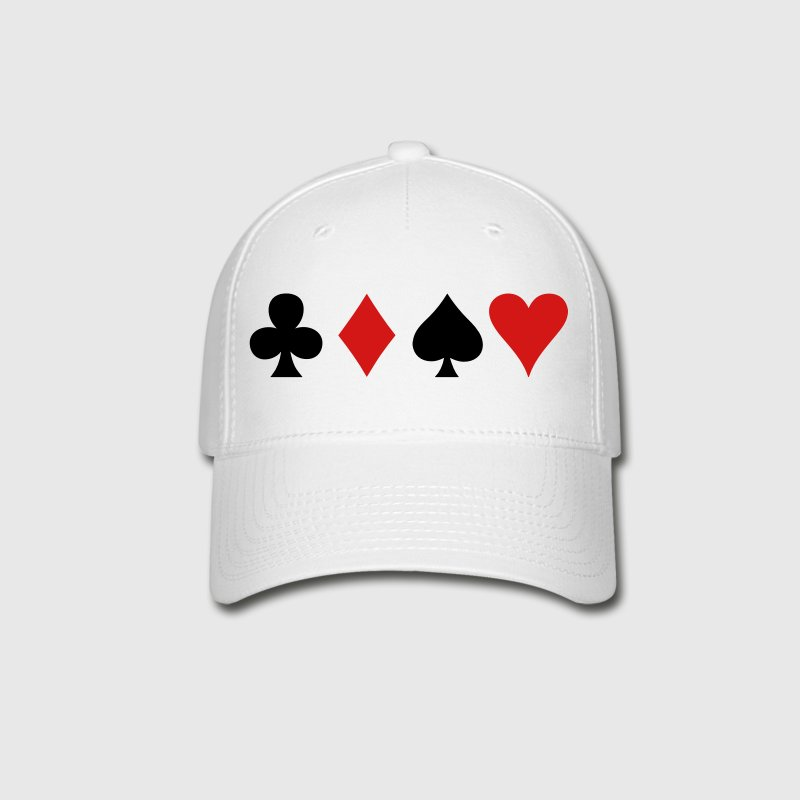 all four poker spade diamond club and heart suits in a row Caps - Baseball Cap