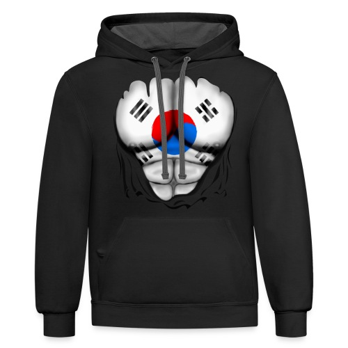 South Korea Flag Ripped Muscles, six pack, chest t-shirt - Contrast Hoodie