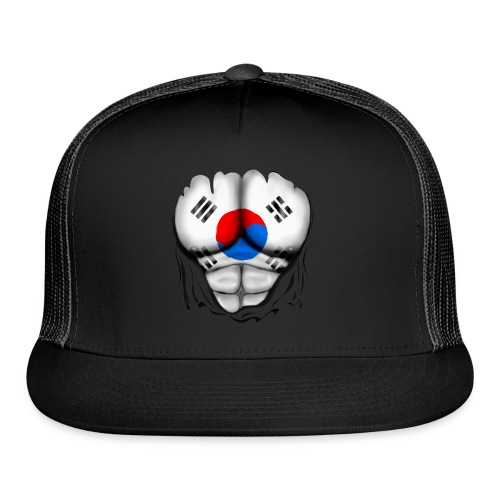 South Korea Flag Ripped Muscles, six pack, chest t-shirt - Trucker Cap