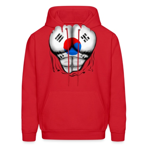 South Korea Flag Ripped Muscles, six pack, chest t-shirt - Men's Hoodie