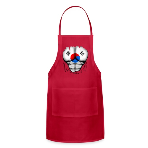 South Korea Flag Ripped Muscles, six pack, chest t-shirt - Adjustable Apron
