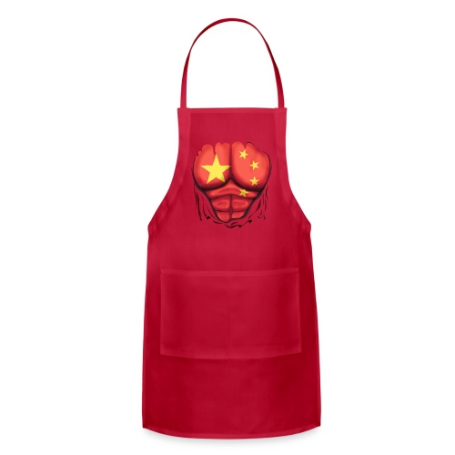 China Flag Ripped Muscles, six pack, chest t-shirt - Adjustable Apron