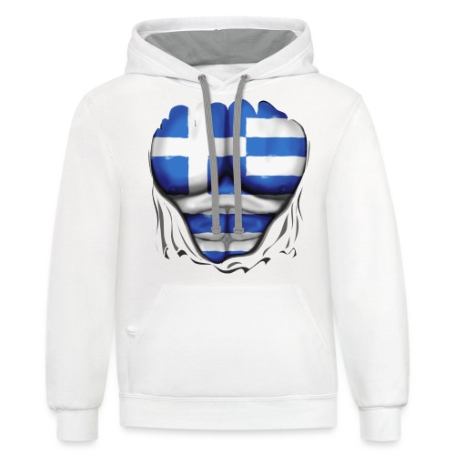 Greece Flag Ripped Muscles, six pack, chest t-shirt - Contrast Hoodie