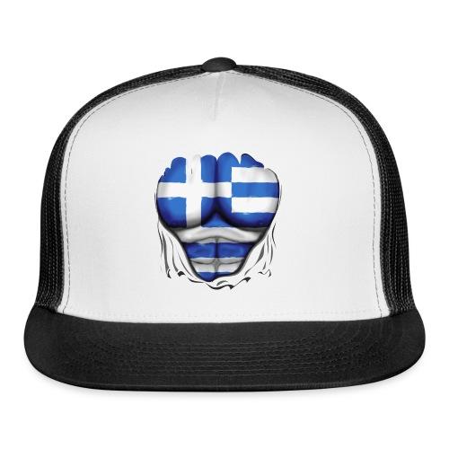 Greece Flag Ripped Muscles, six pack, chest t-shirt - Trucker Cap