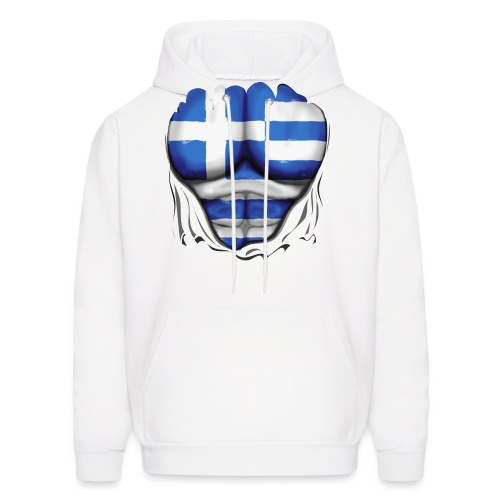 Greece Flag Ripped Muscles, six pack, chest t-shirt - Men's Hoodie