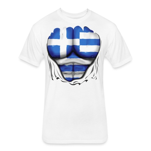 Greece Flag Ripped Muscles, six pack, chest t-shirt - Fitted Cotton/Poly T-Shirt by Next Level
