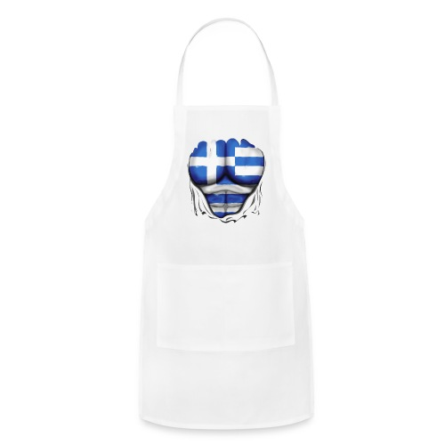 Greece Flag Ripped Muscles, six pack, chest t-shirt - Adjustable Apron