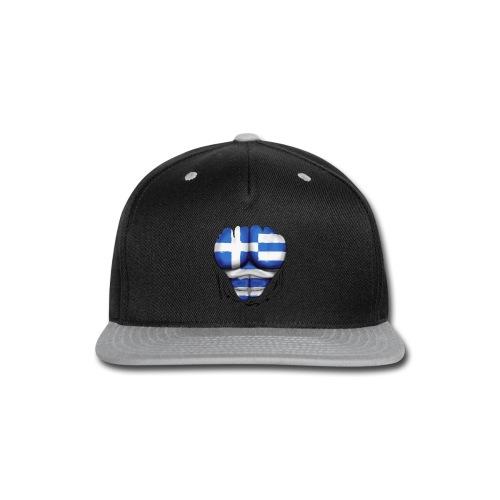 Greece Flag Ripped Muscles, six pack, chest t-shirt - Snap-back Baseball Cap