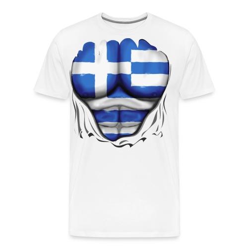 Greece Flag Ripped Muscles, six pack, chest t-shirt - Men's Premium T-Shirt