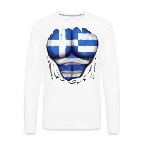 Greece Flag Ripped Muscles, six pack, chest t-shirt - Men's Premium Long Sleeve T-Shirt