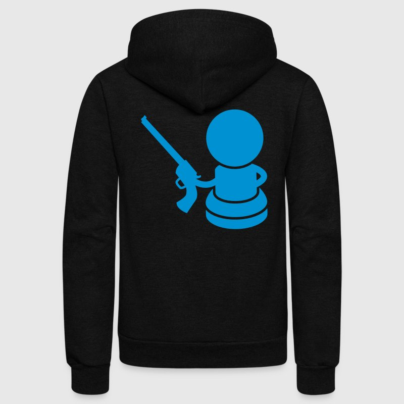 CHESS piece pawn with a gun Zip Hoodies/Jackets - Unisex Fleece Zip Hoodie by American Apparel