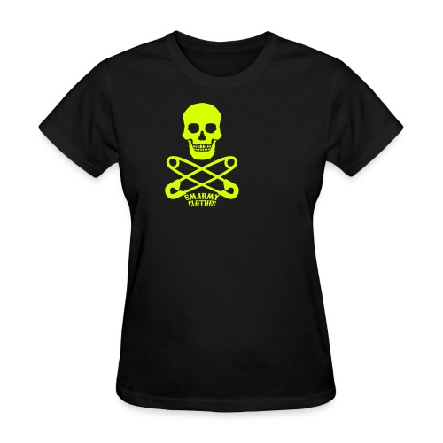 lime sparkle print Skull n Safety Pins SmarmyClothes tee - Women's T-Shirt