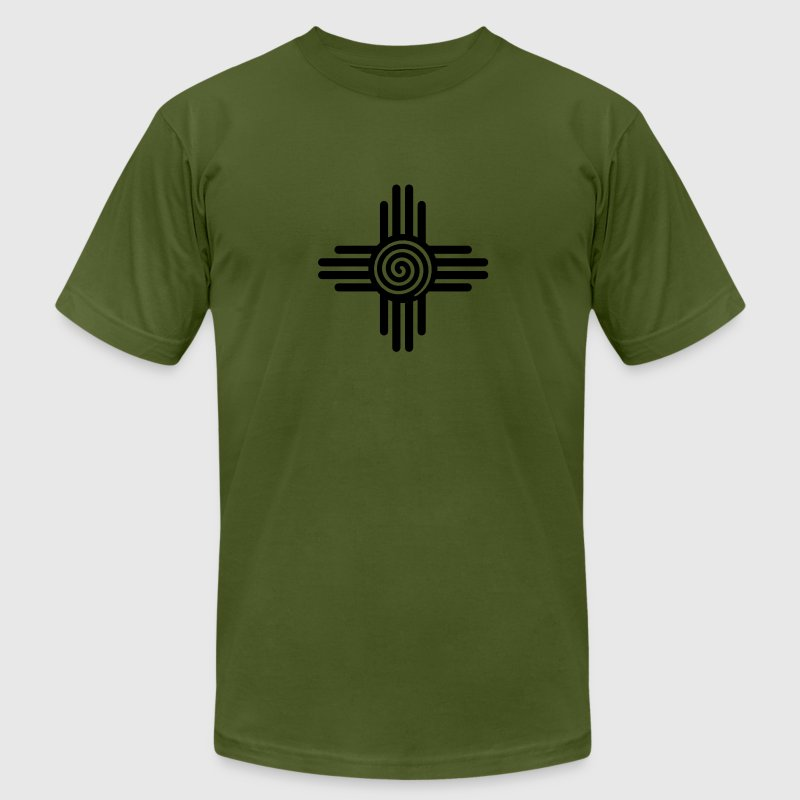 Zia Sun Spiral, Zia Pueblo, New  Mexico, Sun Symbol, SVG,  T-Shirts - Men's T-Shirt by American Apparel