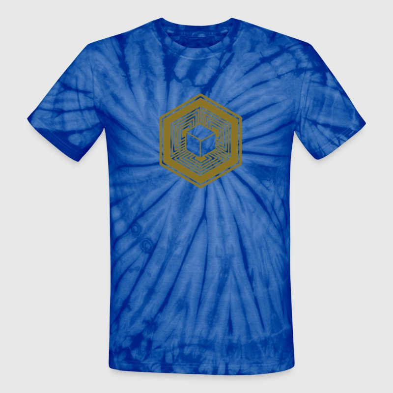 TESSERACT, Hypercube 4D, Crop Circle, 17th July 2010, Fosbury, Wiltshire, Symbol - Dimensional Shift T-Shirts - Unisex Tie Dye T-Shirt
