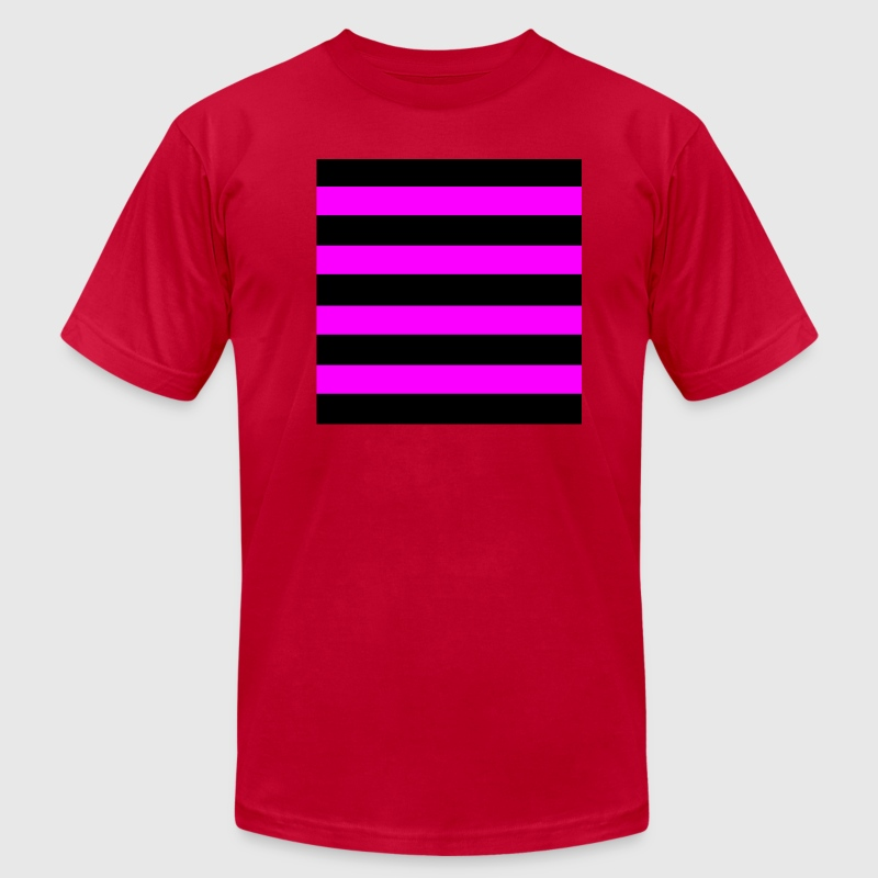 Emo Pink Black Stripes - Men's T-Shirt by American Apparel