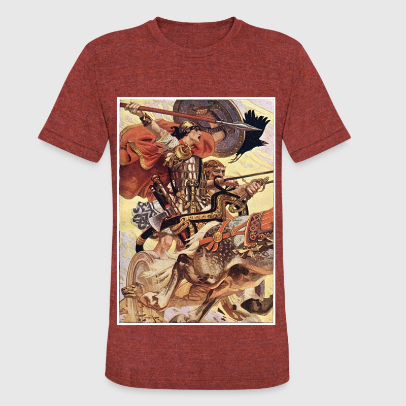 Cuchulain in Battle T-Shirts - Unisex Tri-Blend T-Shirt by American Apparel