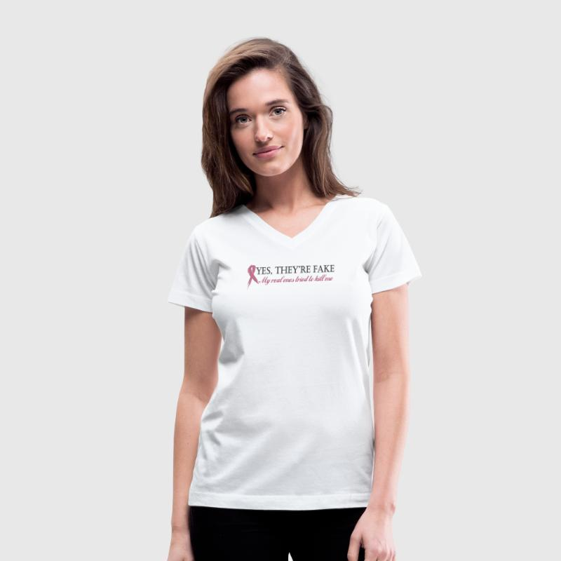 Yes they're fake...  Women's T-Shirts - Women's V-Neck T-Shirt