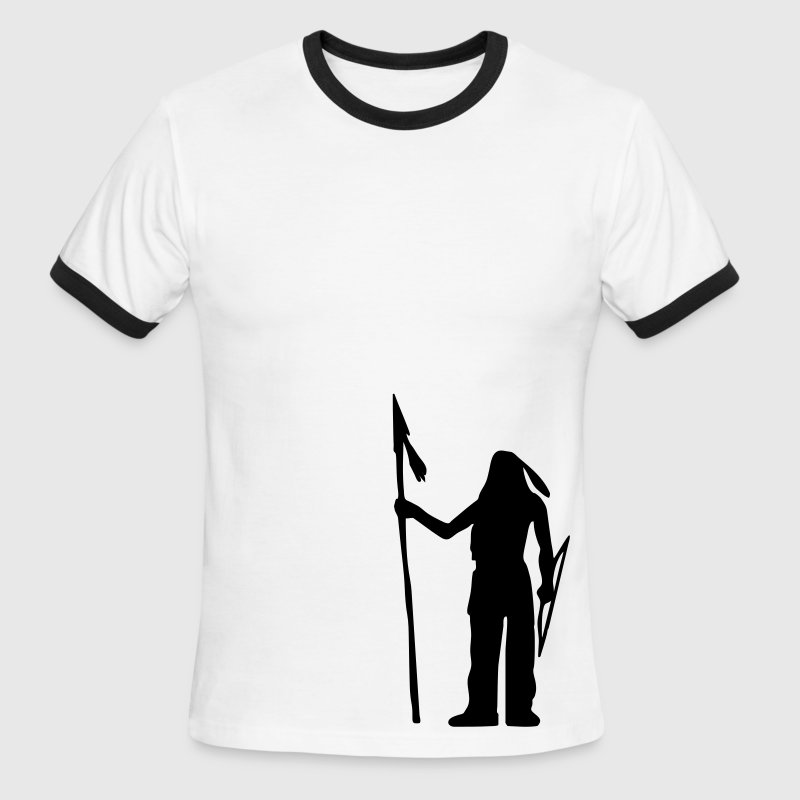 White/black Native American Indian Silhouette Men - Men's Ringer T-Shirt