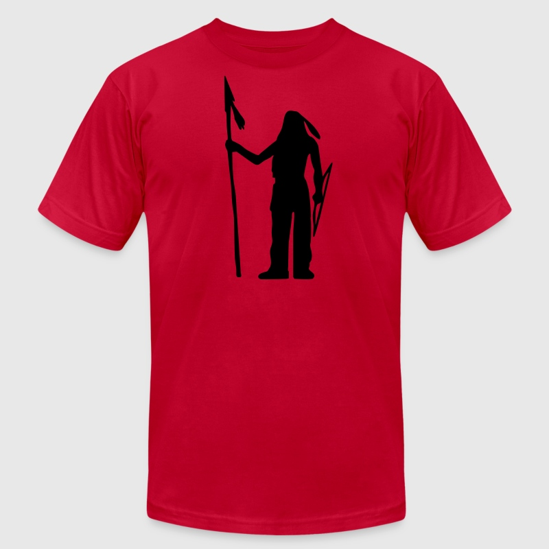 Red Native American Indian Silhouette Men - Men's T-Shirt by American Apparel