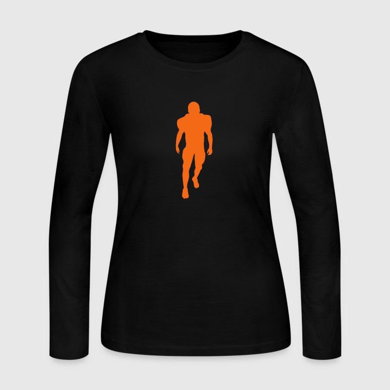Chocolate football player silhouette Tees (Long sleeve) - Women's Long Sleeve Jersey T-Shirt
