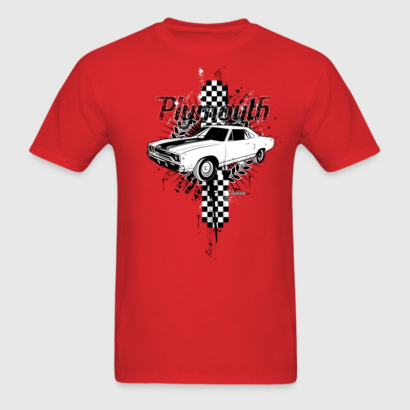 Red auto_plymouth_distressed_01 T-Shirts (Short sleeve) - Men's T-Shirt