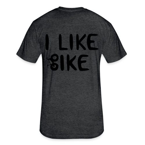 I Like Bike men's lightweight DESIGN ON BACK! - Fitted Cotton/Poly T-Shirt by Next Level