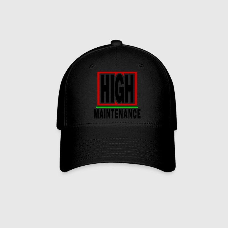 Black High Maintenance With Background And Outline Caps - Baseball Cap