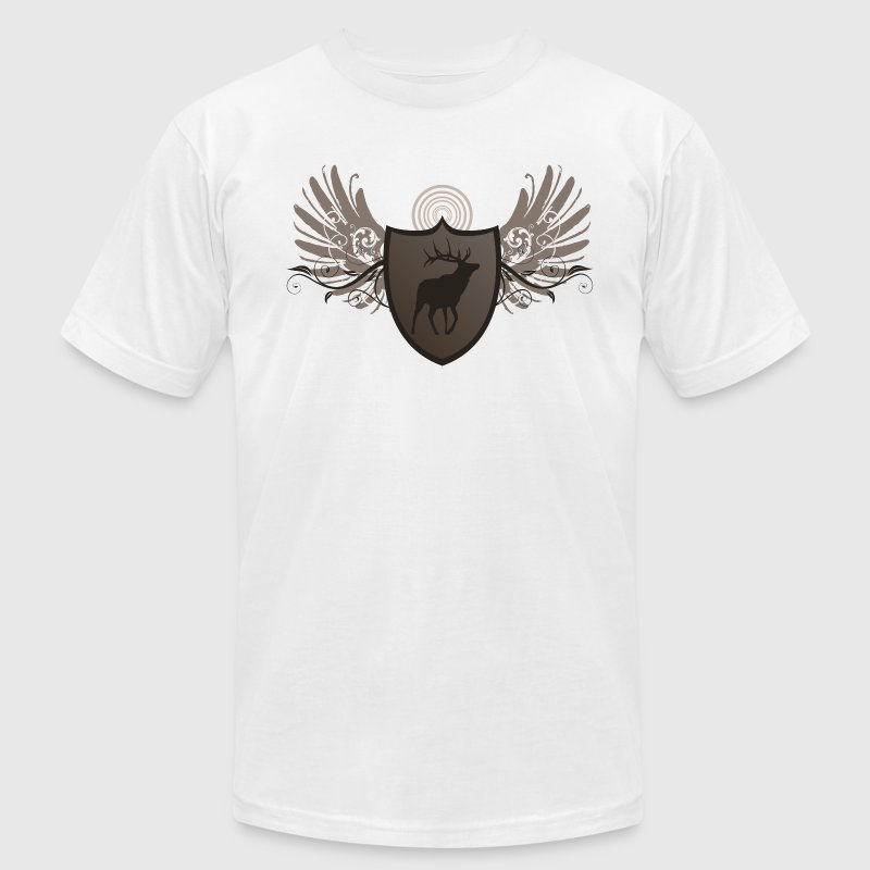 White deer hunting crest and wings design T-Shirts - Men's T-Shirt by American Apparel