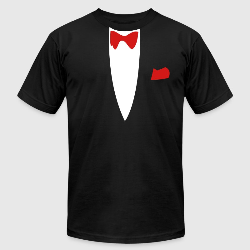 Black Funny Joke Tux Gag T-shirts T-Shirts - Men's T-Shirt by American Apparel