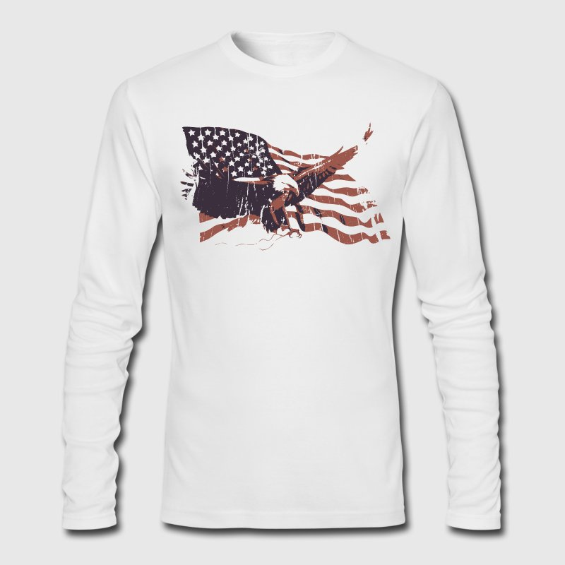 White Vintage American Flag bald eagle Long sleeve shirts - Men's Long Sleeve T-Shirt by Next Level