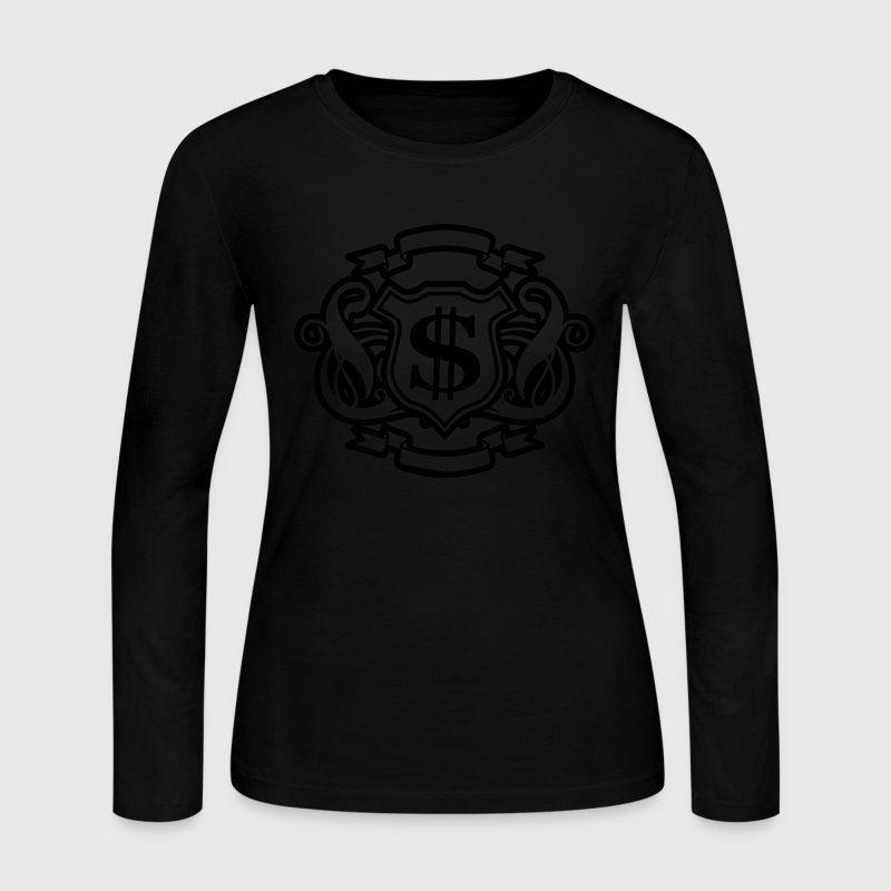 Black Reflective Gold and Silver Money Graphic Long sleeve shirts - Women's Long Sleeve Jersey T-Shirt