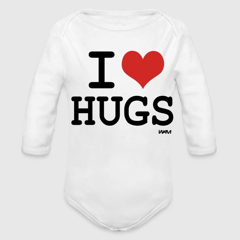 White i love hugs by wam Baby Body - Long Sleeve Baby Bodysuit