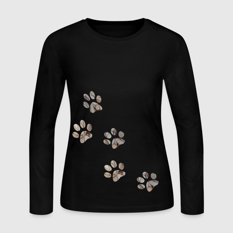 Chocolate PAW PRINTS Long sleeve shirts - Women's Long Sleeve Jersey T-Shirt