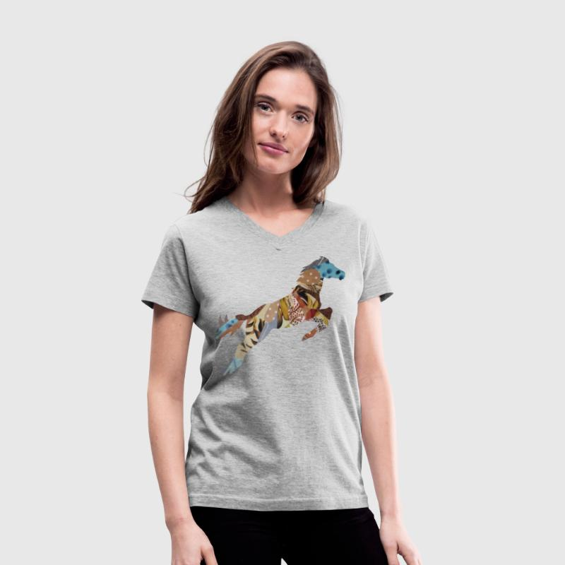 Gray STALLION Women's T-shirts - Women's V-Neck T-Shirt