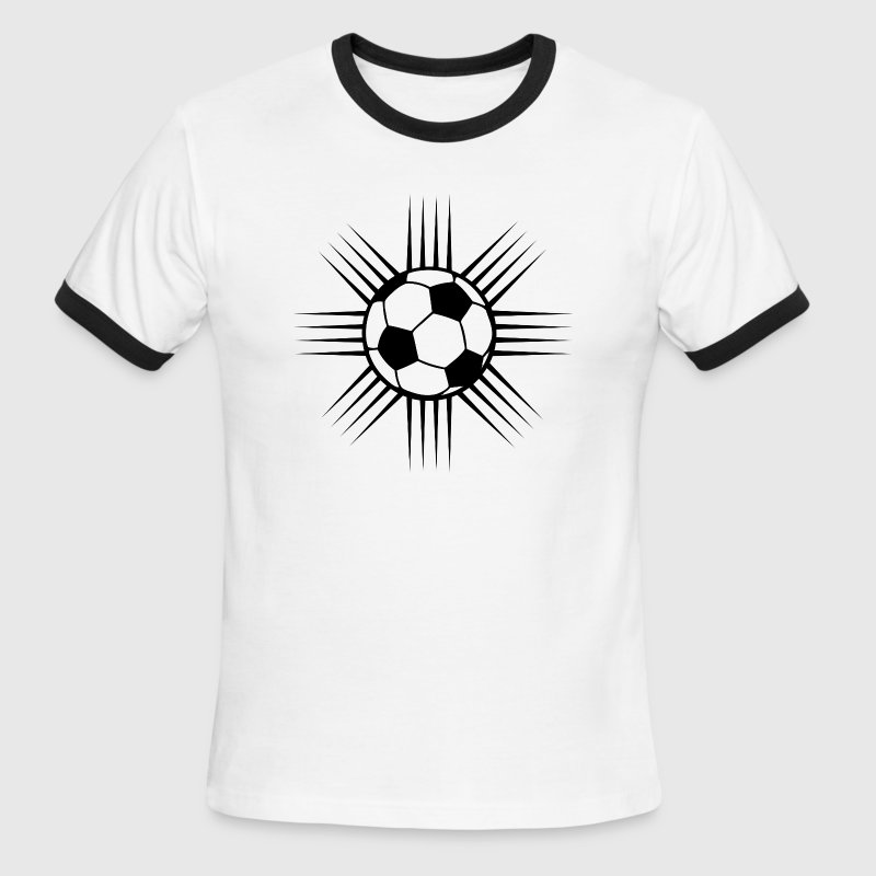 White/black cool soccer ball design or team logo T-Shirts - Men's Ringer T-Shirt