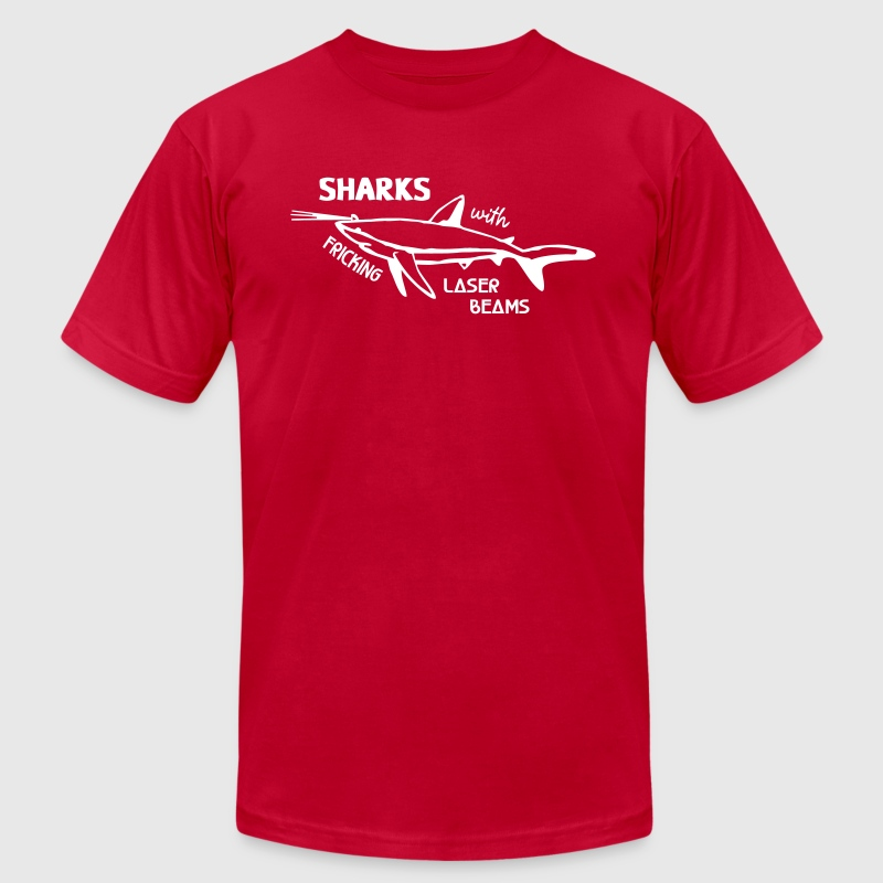 Red Sharks With Laser Beams T-Shirts - Men's T-Shirt by American Apparel