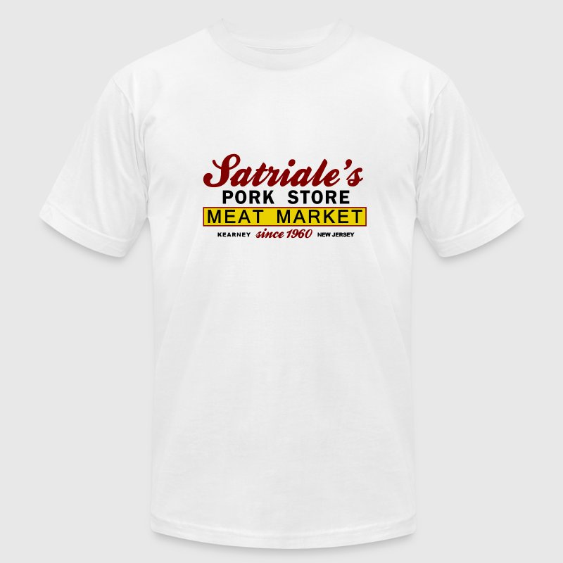 White Sopranos Satriales Pork Store  T-Shirts - Men's T-Shirt by American Apparel