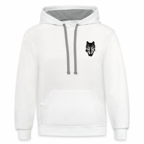 Wolf and Rose Black - Contrast Hoodie
