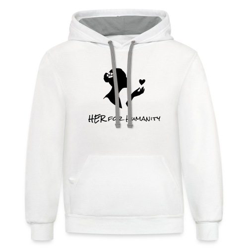 HER For Humanity logo Vertical black - Contrast Hoodie