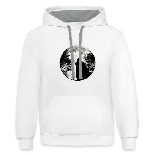 wolf moon - Contrast Hoodie
