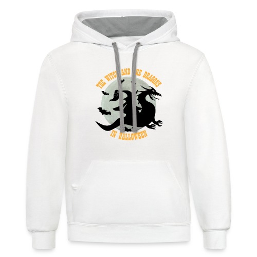 TE WITCH AND THE DRAGONS IN HALLOWEEN - Contrast Hoodie