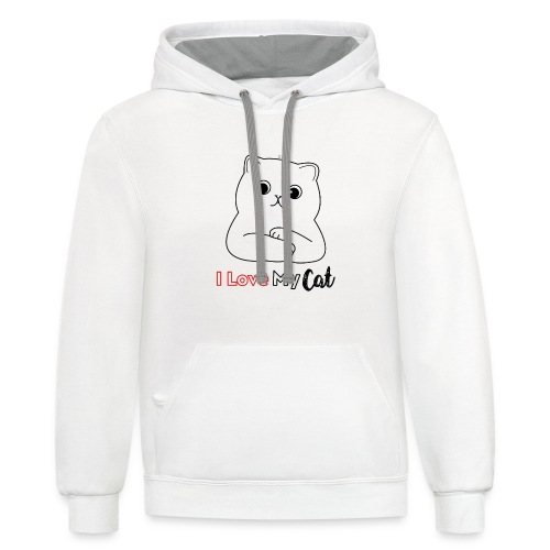 I Love My CatT-shirt Design Gifts For You - Contrast Hoodie